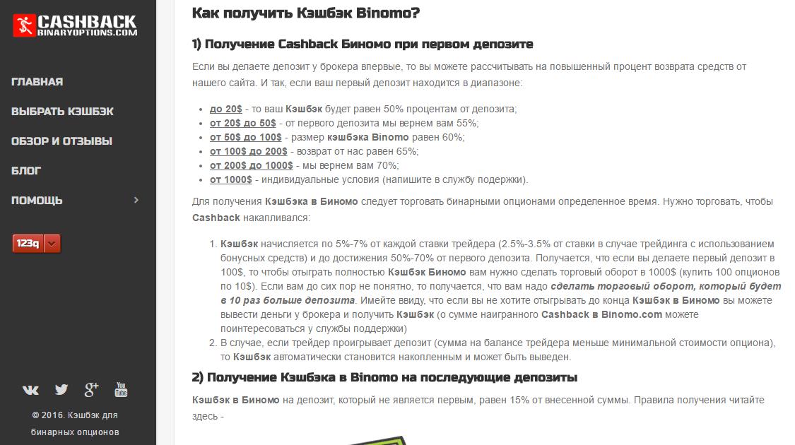 Кэшбэк-сервис бинарные опционы